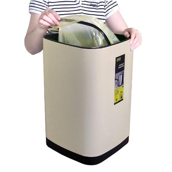 Сенсорное мусорное ведро EKO серии ECOSMART 3550 литров Установка мусорного мешка с помощью механизма крепленияnbsp- EKOBIN